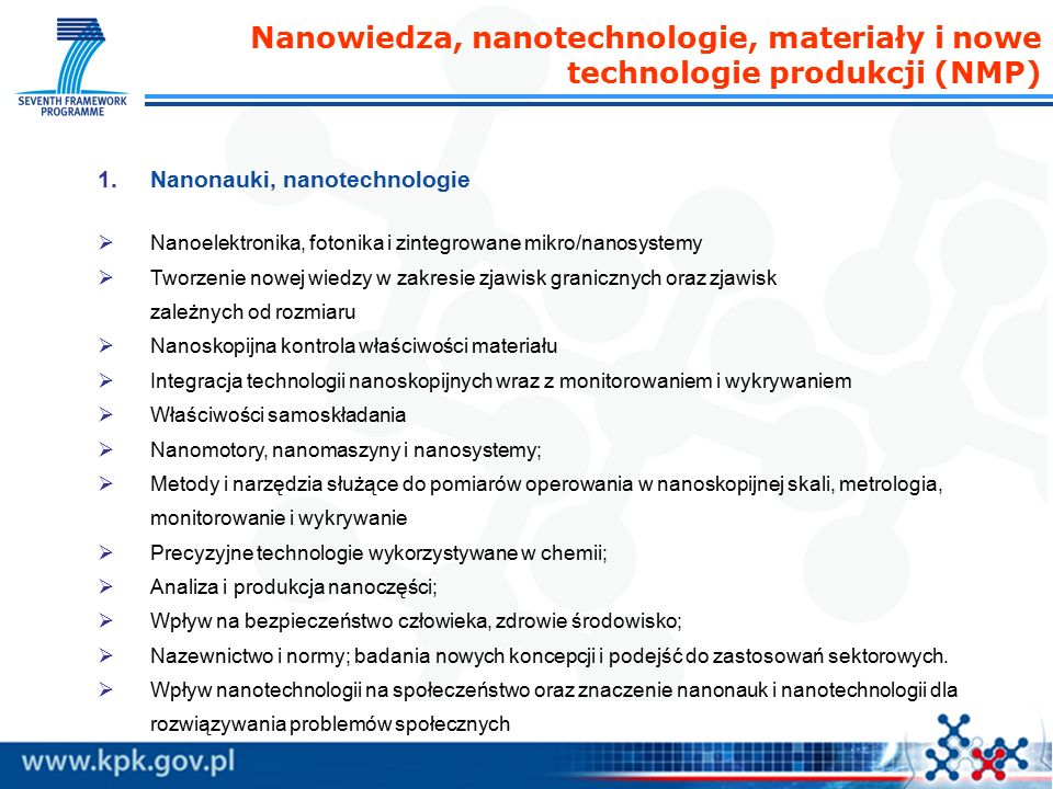 Nanowiedza, nanotechnologie, materiały i nowe technologie produkcji (NMP) 1.Nanonauki, nanotechnologie  Nanoelektronika, fotonika i zintegrowane mikro/nanosystemy  Tworzenie nowej wiedzy w zakresie zjawisk granicznych oraz zjawisk zależnych od rozmiaru  Nanoskopijna kontrola właściwości materiału  Integracja technologii nanoskopijnych wraz z monitorowaniem i wykrywaniem  Właściwości samoskładania  Nanomotory, nanomaszyny i nanosystemy;  Metody i narzędzia służące do pomiarów operowania w nanoskopijnej skali, metrologia, monitorowanie i wykrywanie  Precyzyjne technologie wykorzystywane w chemii;  Analiza i produkcja nanoczęści;  Wpływ na bezpieczeństwo człowieka, zdrowie środowisko;  Nazewnictwo i normy; badania nowych koncepcji i podejść do zastosowań sektorowych.
