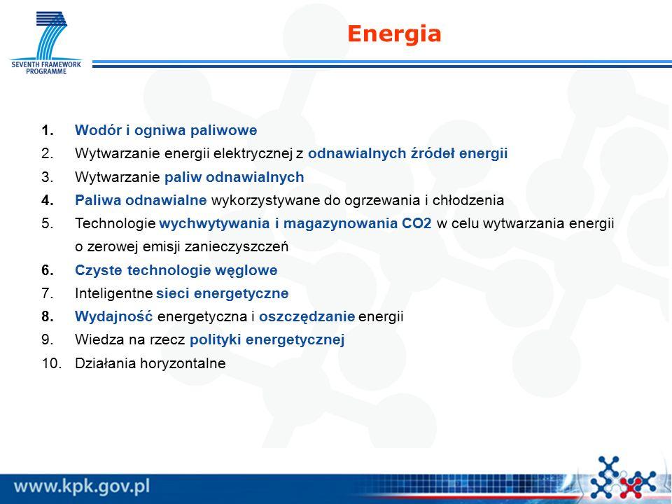1.Wodór i ogniwa paliwowe 2.Wytwarzanie energii elektrycznej z odnawialnych źródeł energii 3.Wytwarzanie paliw odnawialnych 4.Paliwa odnawialne wykorzystywane do ogrzewania i chłodzenia 5.Technologie wychwytywania i magazynowania CO2 w celu wytwarzania energii o zerowej emisji zanieczyszczeń 6.Czyste technologie węglowe 7.Inteligentne sieci energetyczne 8.Wydajność energetyczna i oszczędzanie energii 9.Wiedza na rzecz polityki energetycznej 10.Działania horyzontalne Energia