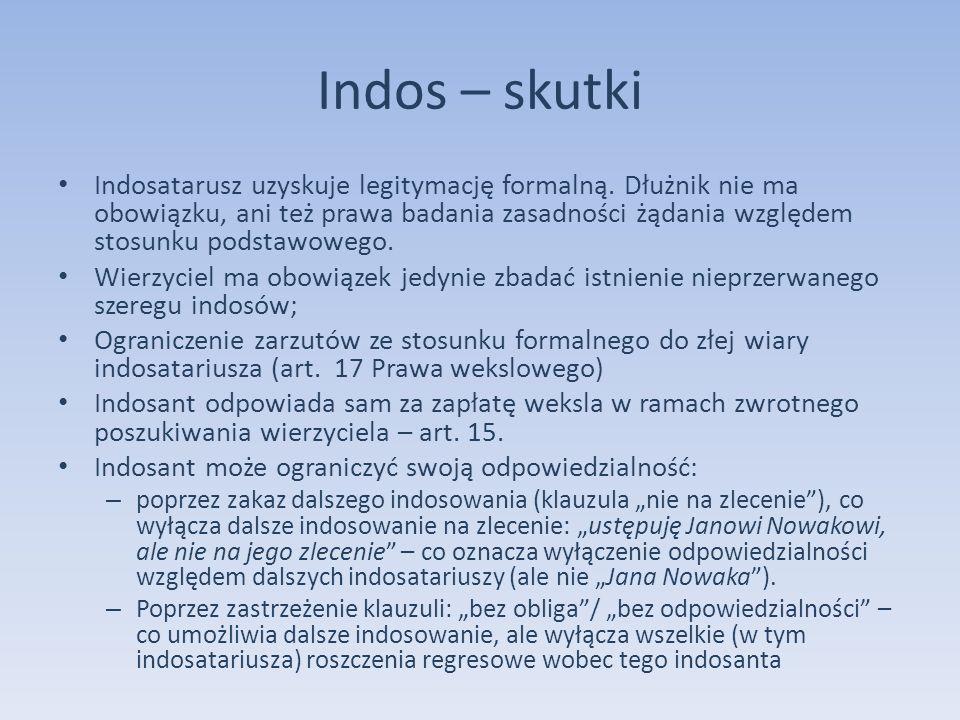 Indos – skutki Indosatarusz uzyskuje legitymację formalną. Dłużnik nie ma obowiązku, ani też prawa badania zasadności żądania względem stosunku podsta
