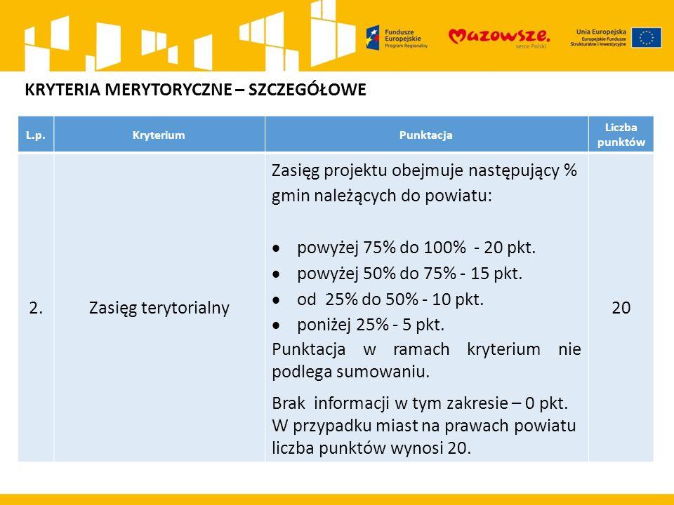 L.p.KryteriumPunktacja Liczba punktów 2.Zasięg terytorialny Zasięg projektu obejmuje następujący % gmin należących do powiatu:  powyżej 75% do 100% - 20 pkt.