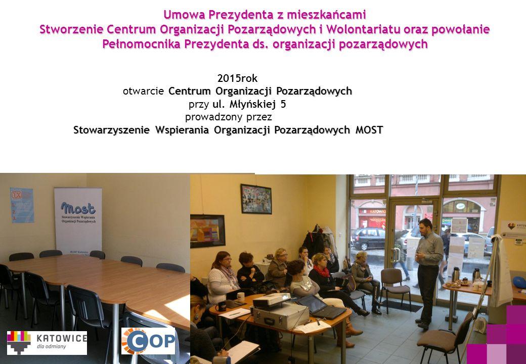 Umowa Prezydenta z mieszkańcami Stworzenie Centrum Organizacji Pozarządowych i Wolontariatu oraz powołanie Pełnomocnika Prezydenta ds. organizacji poz