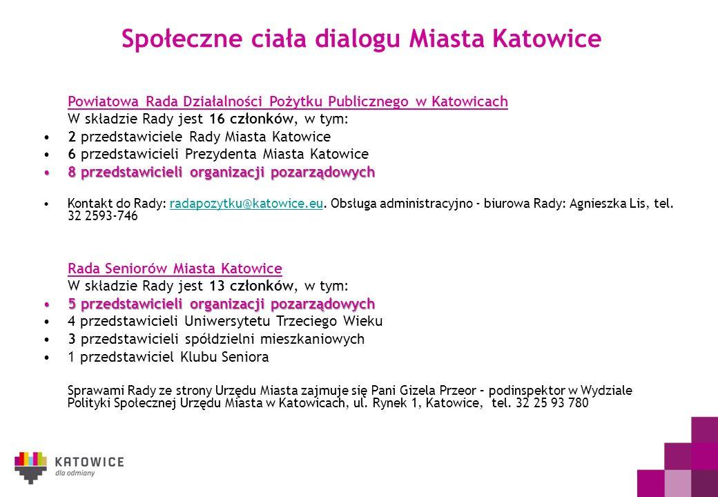 Społeczne ciała dialogu Miasta Katowice Powiatowa Rada Działalności Pożytku Publicznego w Katowicach W składzie Rady jest 16 członków, w tym: 2 przeds
