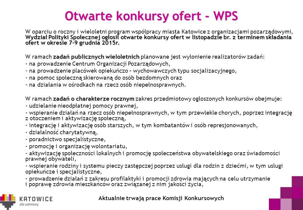 Otwarte konkursy ofert - WPS Wydział Polityki Społecznej ogłosił otwarte konkursy ofert w listopadzie br. z terminem składania ofert w okresie 7-9 gru