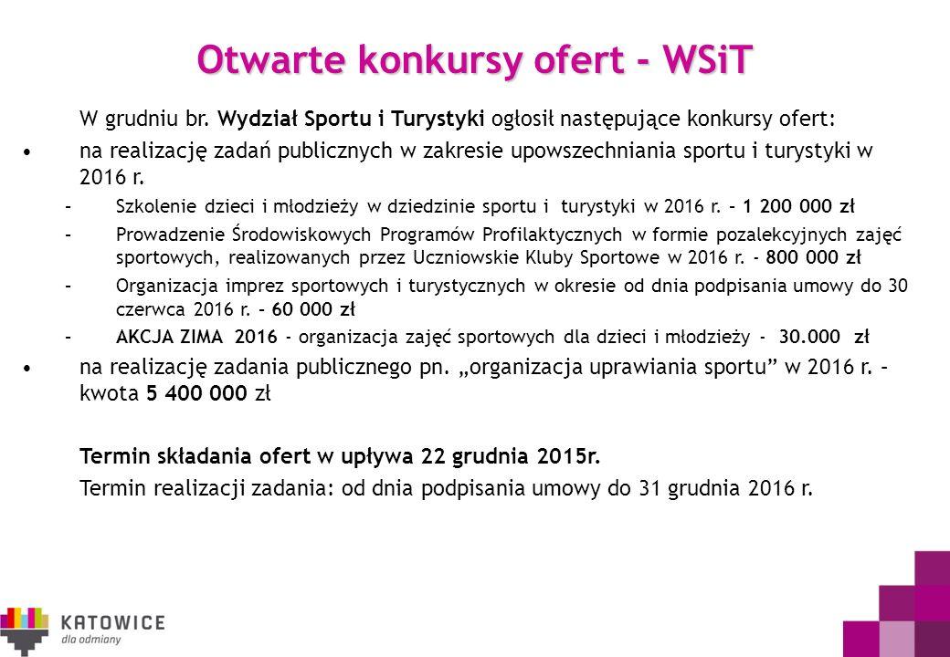 Otwarte konkursy ofert - WSiT W grudniu br. Wydział Sportu i Turystyki ogłosił następujące konkursy ofert: na realizację zadań publicznych w zakresie