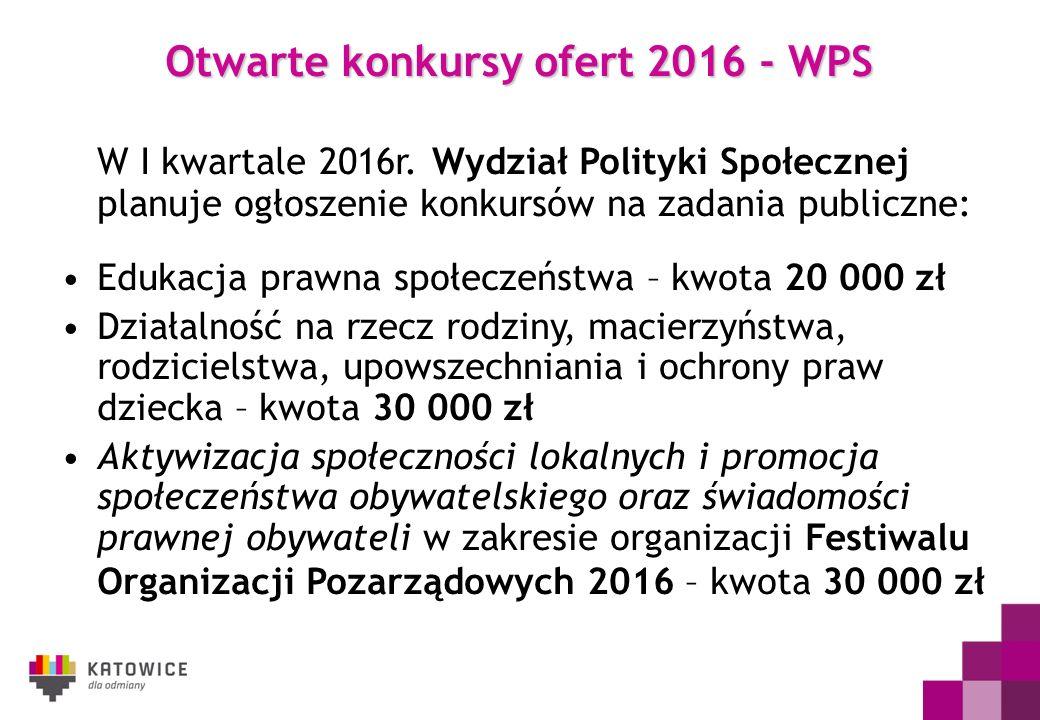 Otwarte konkursy ofert 2016 - WPS W I kwartale 2016r. Wydział Polityki Społecznej planuje ogłoszenie konkursów na zadania publiczne: Edukacja prawna s