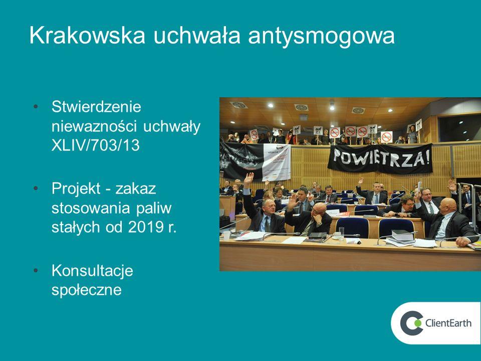 Krakowska uchwała antysmogowa Stwierdzenie niewazności uchwały XLIV/703/13 Projekt - zakaz stosowania paliw stałych od 2019 r. Konsultacje społeczne