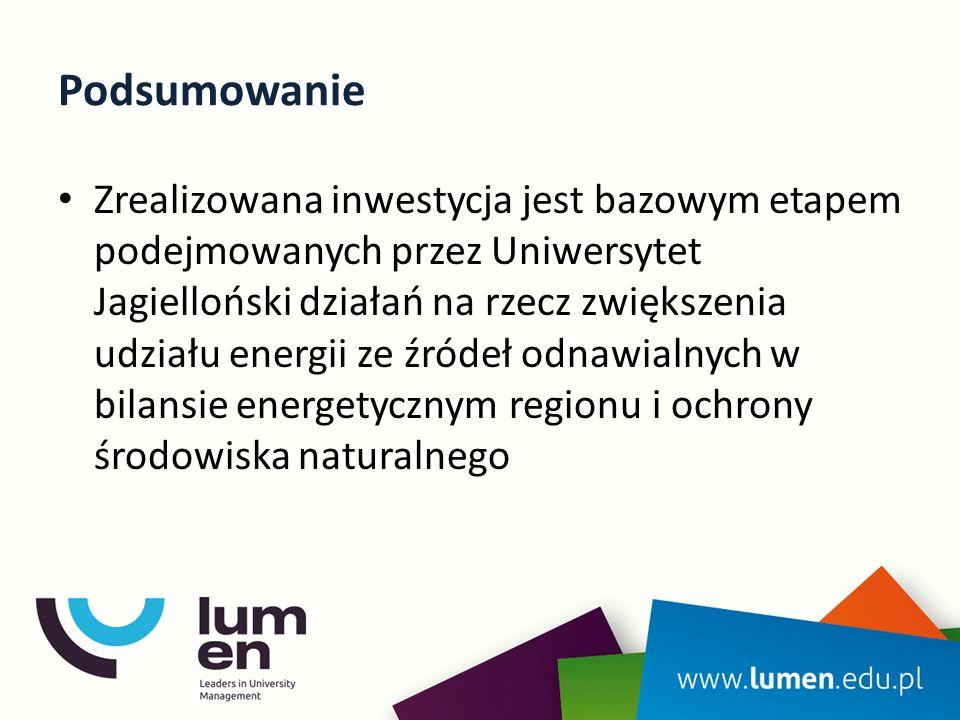 Podsumowanie Zrealizowana inwestycja jest bazowym etapem podejmowanych przez Uniwersytet Jagielloński działań na rzecz zwiększenia udziału energii ze