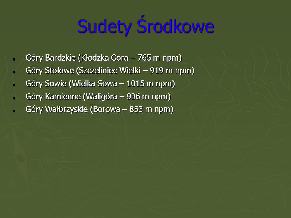 Sudety Zachodnie Góry Kaczawskie (Skopiec – 724 m npm) Góry Kaczawskie (Skopiec – 724 m npm) Rudawy Janowickie (Skalnik – 945 m npm) Rudawy Janowickie (Skalnik – 945 m npm) Góry Izerskie (Wysoka Kopa – 1126 m npm) Góry Izerskie (Wysoka Kopa – 1126 m npm) Karkonosze (Śnieżka – 1602 m npm) Karkonosze (Śnieżka – 1602 m npm)