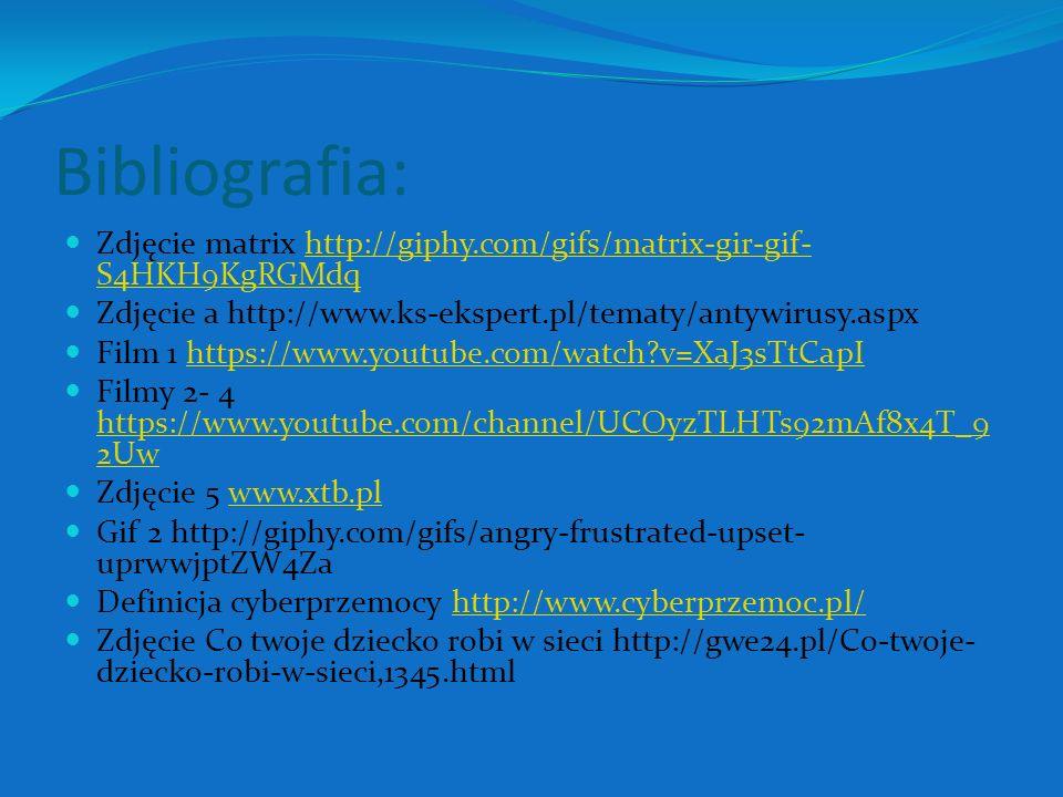 Bibliografia: Zdjęcie matrix http://giphy.com/gifs/matrix-gir-gif- S4HKH9KgRGMdqhttp://giphy.com/gifs/matrix-gir-gif- S4HKH9KgRGMdq Zdjęcie a http://www.ks-ekspert.pl/tematy/antywirusy.aspx Film 1 https://www.youtube.com/watch?v=XaJ3sTtCapIhttps://www.youtube.com/watch?v=XaJ3sTtCapI Filmy 2- 4 https://www.youtube.com/channel/UCOyzTLHTs92mAf8x4T_9 2Uw https://www.youtube.com/channel/UCOyzTLHTs92mAf8x4T_9 2Uw Zdjęcie 5 www.xtb.plwww.xtb.pl Gif 2 http://giphy.com/gifs/angry-frustrated-upset- uprwwjptZW4Za Definicja cyberprzemocy http://www.cyberprzemoc.pl/http://www.cyberprzemoc.pl/ Zdjęcie Co twoje dziecko robi w sieci http://gwe24.pl/Co-twoje- dziecko-robi-w-sieci,1345.html