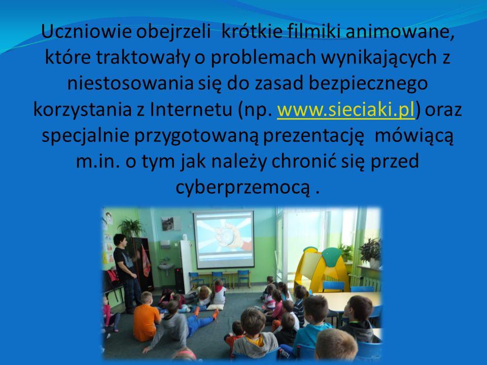 Uczniowie obejrzeli krótkie filmiki animowane, które traktowały o problemach wynikających z niestosowania się do zasad bezpiecznego korzystania z Internetu (np.