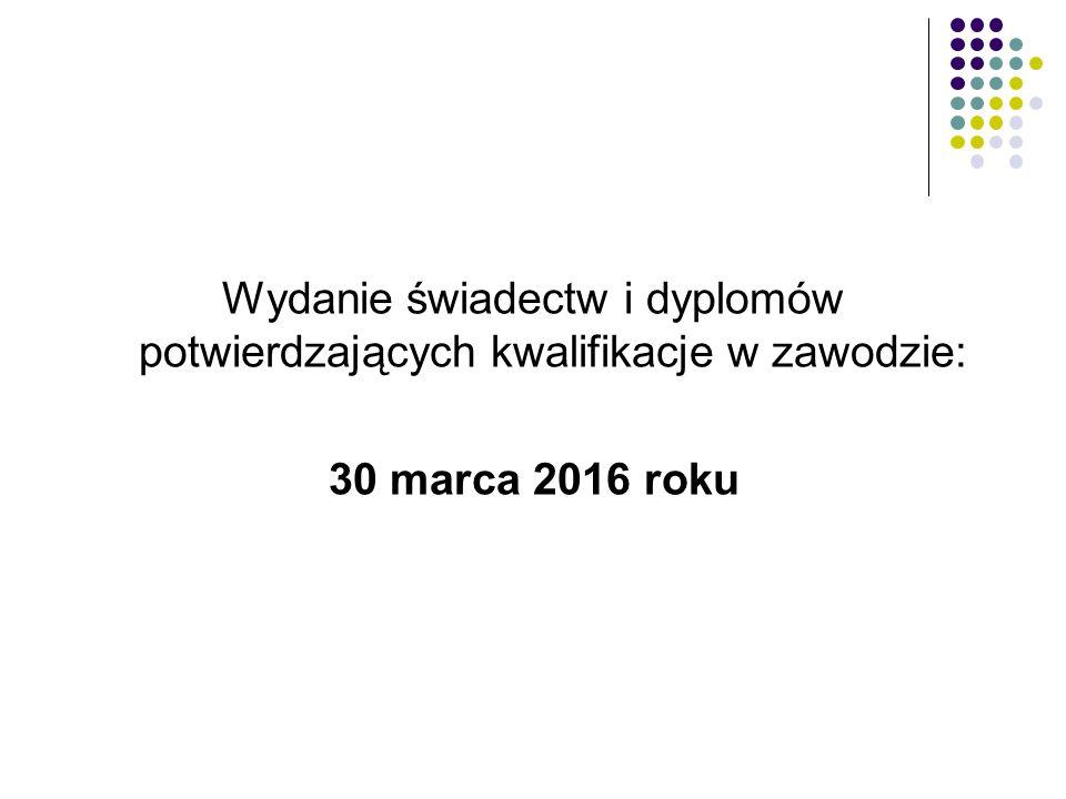 Wydanie świadectw i dyplomów potwierdzających kwalifikacje w zawodzie: 30 marca 2016 roku