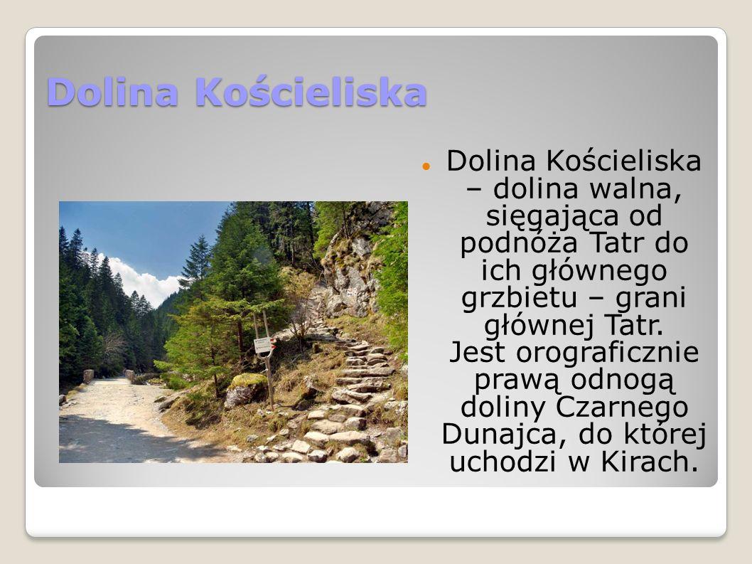 Dolina Kościeliska Dolina Kościeliska – dolina walna, sięgająca od podnóża Tatr do ich głównego grzbietu – grani głównej Tatr.