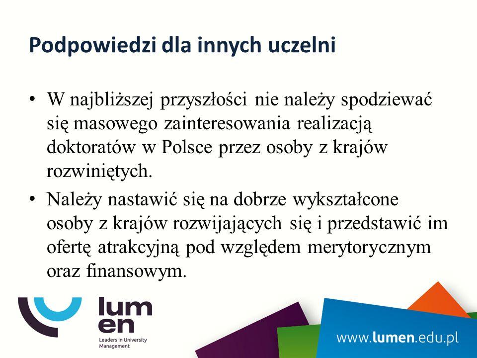 Podpowiedzi dla innych uczelni W najbliższej przyszłości nie należy spodziewać się masowego zainteresowania realizacją doktoratów w Polsce przez osoby z krajów rozwiniętych.