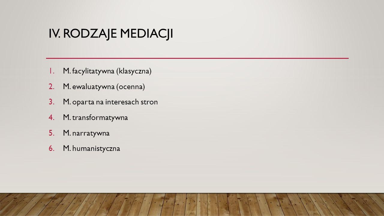 IV.RODZAJE MEDIACJI 1.M. facylitatywna (klasyczna) 2.M.