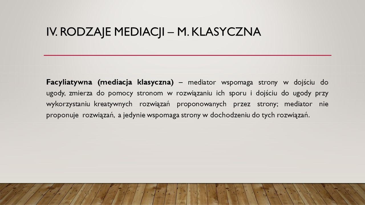 IV. RODZAJE MEDIACJI – M. KLASYCZNA Facyliatywna (mediacja klasyczna) – mediator wspomaga strony w dojściu do ugody, zmierza do pomocy stronom w rozwi