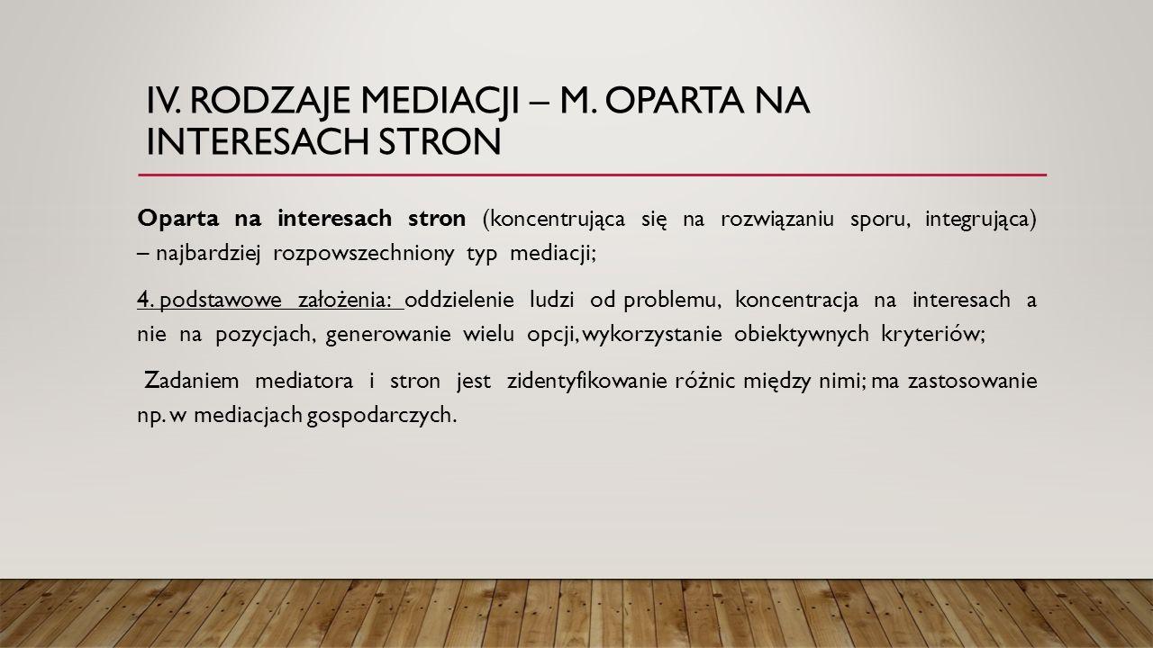 IV. RODZAJE MEDIACJI – M. OPARTA NA INTERESACH STRON Oparta na interesach stron (koncentrująca się na rozwiązaniu sporu, integrująca) – najbardziej ro