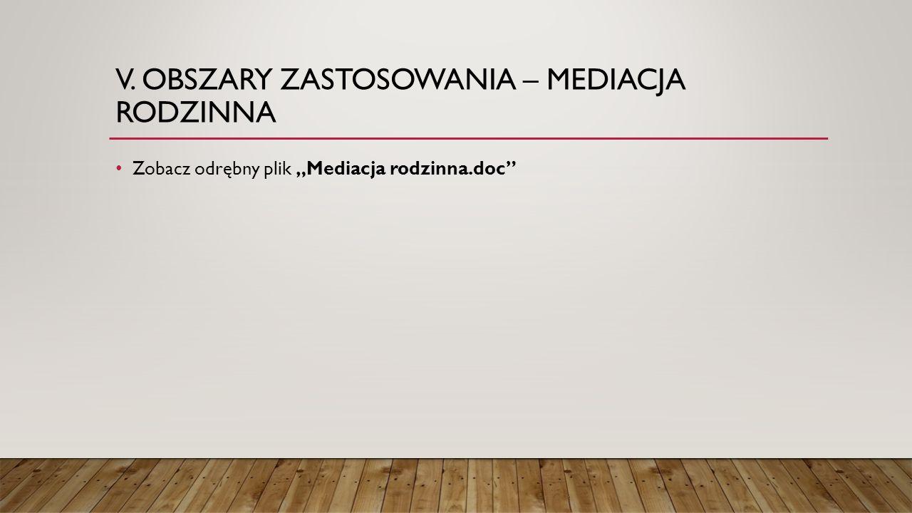 """V. OBSZARY ZASTOSOWANIA – MEDIACJA RODZINNA Zobacz odrębny plik """"Mediacja rodzinna.doc"""""""