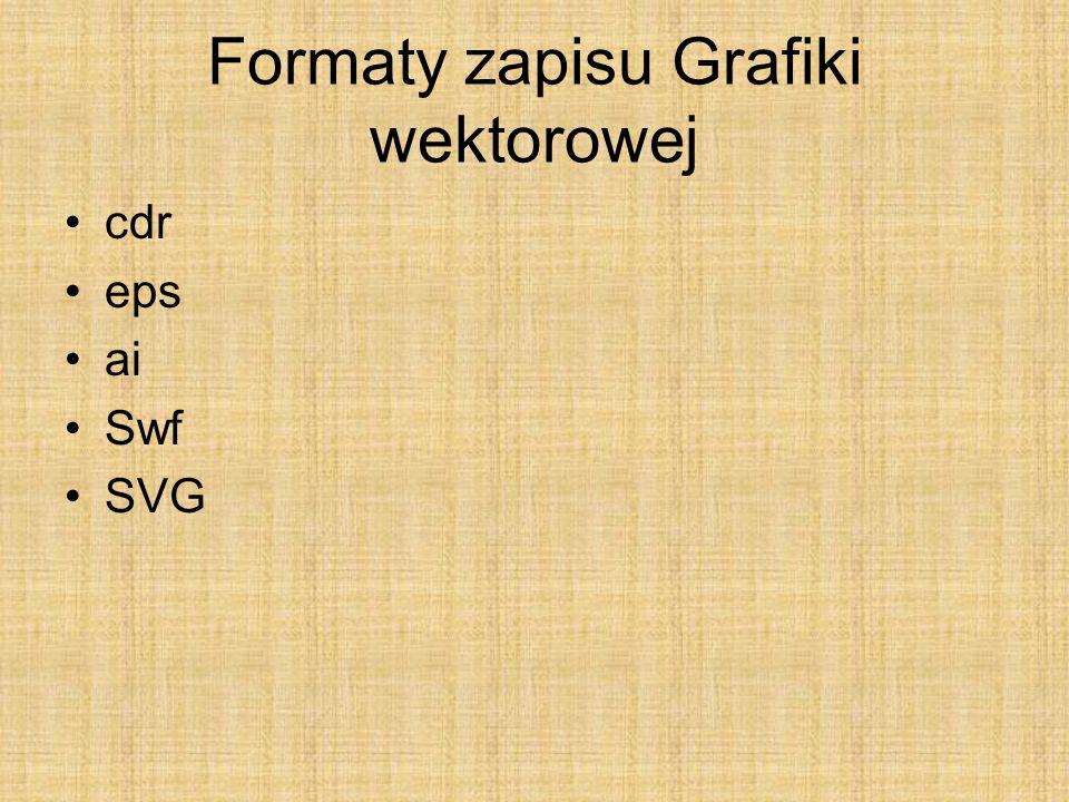 Formaty zapisu Grafiki wektorowej cdr eps ai Swf SVG