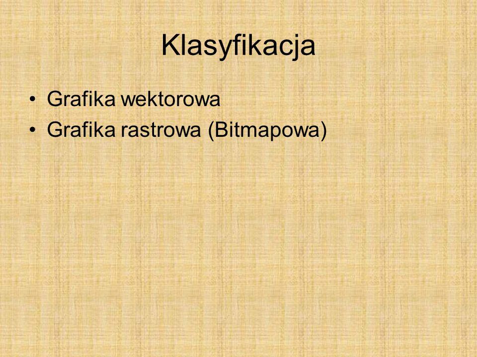 Klasyfikacja Grafika wektorowa Grafika rastrowa (Bitmapowa)
