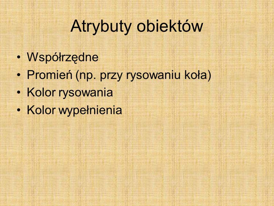 Atrybuty obiektów Współrzędne Promień (np. przy rysowaniu koła) Kolor rysowania Kolor wypełnienia