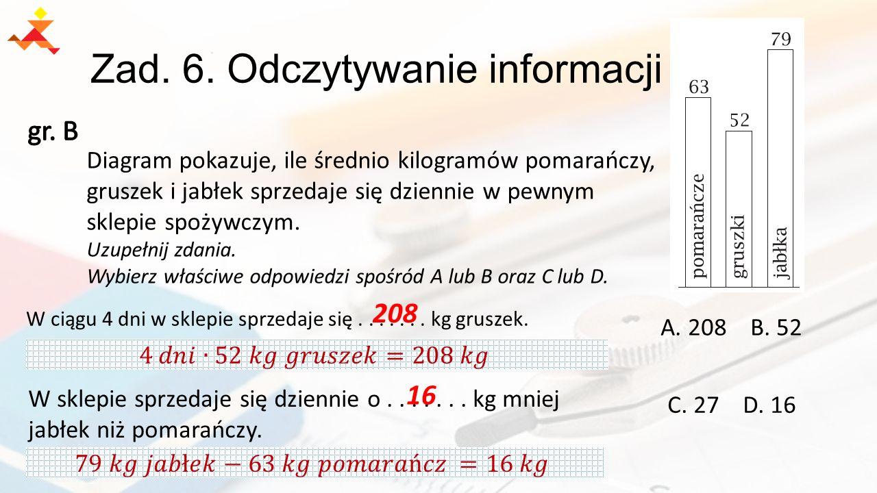 Zad. 6. Odczytywanie informacji A. 208 B. 52 C. 27 D. 16 Diagram pokazuje, ile średnio kilogramów pomarańczy, gruszek i jabłek sprzedaje się dziennie
