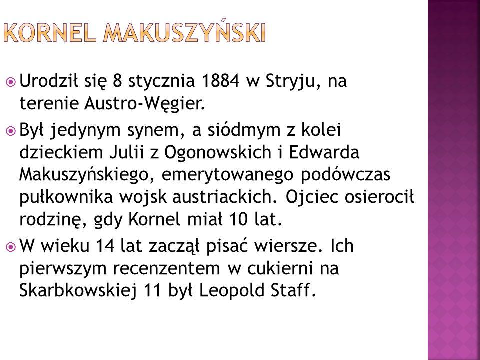 """ Pierwsze wiersze opublikował w lwowskim dzienniku """"Słowo Polskie , mając 16 lat."""