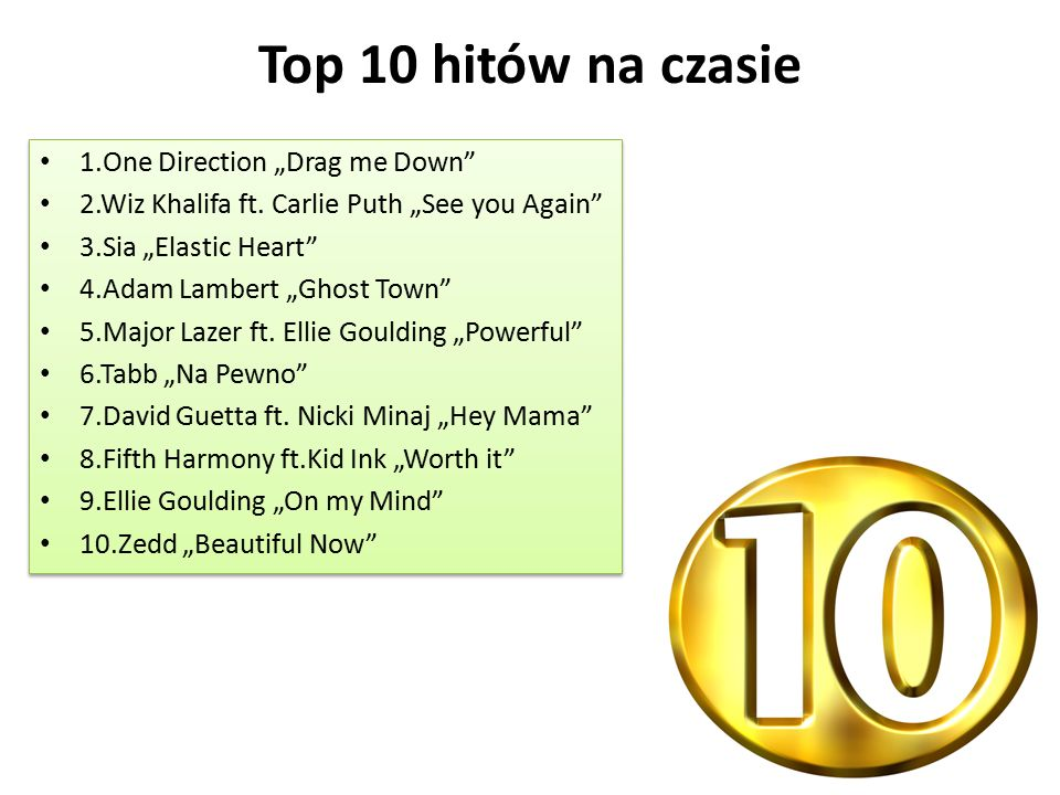 "Top 10 hitów na czasie 1.One Direction ""Drag me Down 2.Wiz Khalifa ft."