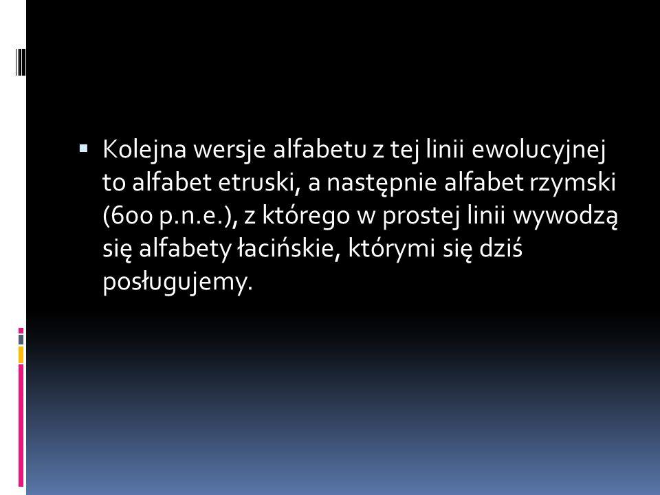  Kolejna wersje alfabetu z tej linii ewolucyjnej to alfabet etruski, a następnie alfabet rzymski (600 p.n.e.), z którego w prostej linii wywodzą się alfabety łacińskie, którymi się dziś posługujemy.