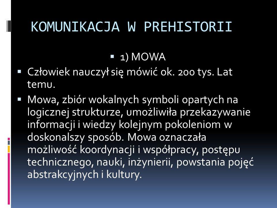2) 30 000 p.n.e - Pierwsze symbole  Najstarsze znane nam symbole przeznaczone do komunikacji na przestrzeni czasu to malowidła jaskiniowe.