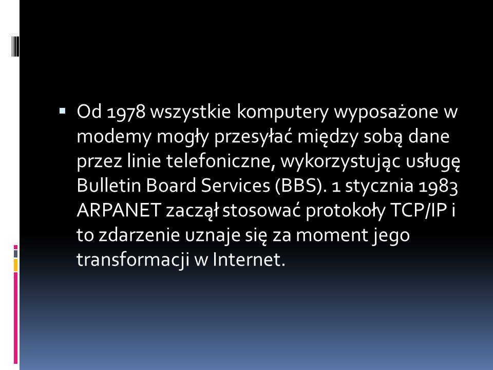  Od 1978 wszystkie komputery wyposażone w modemy mogły przesyłać między sobą dane przez linie telefoniczne, wykorzystując usługę Bulletin Board Services (BBS).