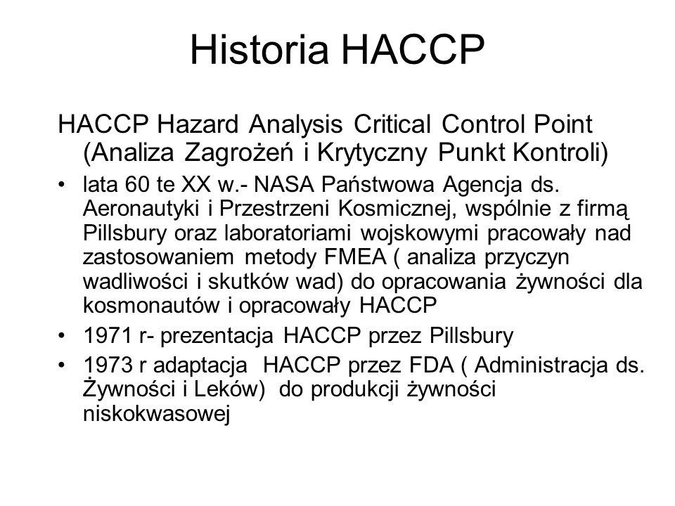 Historia HACCP HACCP Hazard Analysis Critical Control Point (Analiza Zagrożeń i Krytyczny Punkt Kontroli) lata 60 te XX w.- NASA Państwowa Agencja ds.