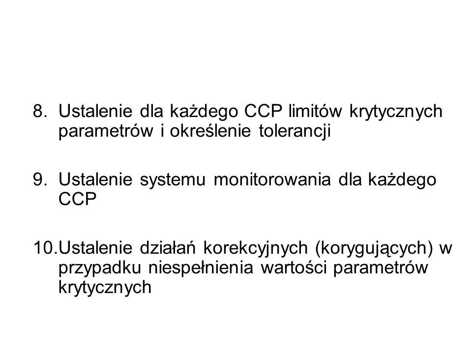8.Ustalenie dla każdego CCP limitów krytycznych parametrów i określenie tolerancji 9.Ustalenie systemu monitorowania dla każdego CCP 10.Ustalenie dzia