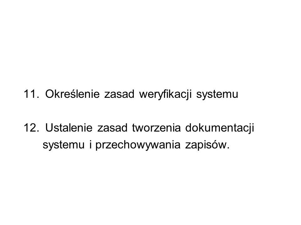 11. Określenie zasad weryfikacji systemu 12. Ustalenie zasad tworzenia dokumentacji systemu i przechowywania zapisów.