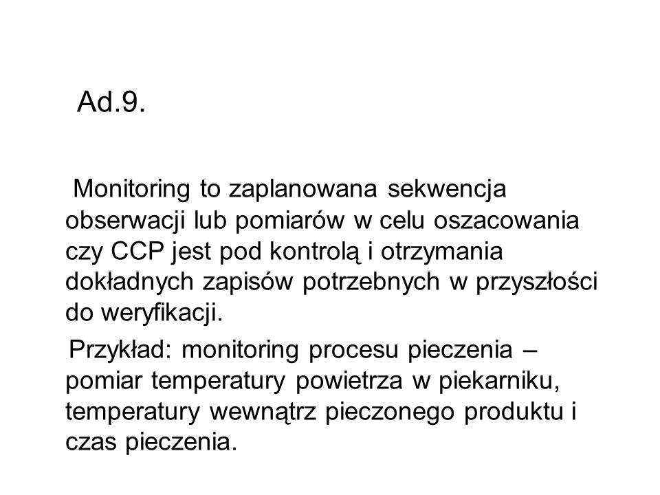 Ad.9. Monitoring to zaplanowana sekwencja obserwacji lub pomiarów w celu oszacowania czy CCP jest pod kontrolą i otrzymania dokładnych zapisów potrzeb