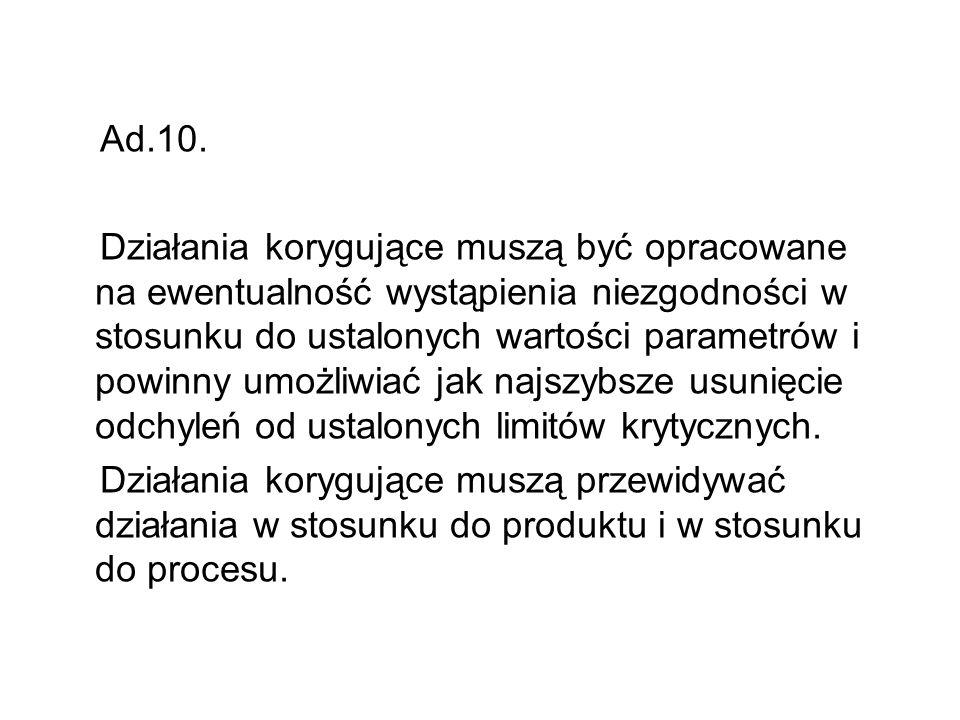 Ad.10. Działania korygujące muszą być opracowane na ewentualność wystąpienia niezgodności w stosunku do ustalonych wartości parametrów i powinny umożl