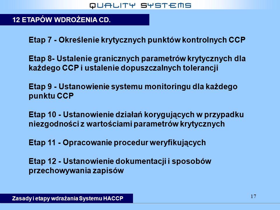 17 Etap 7 - Określenie krytycznych punktów kontrolnych CCP Etap 8- Ustalenie granicznych parametrów krytycznych dla każdego CCP i ustalenie dopuszczalnych tolerancji Etap 9 - Ustanowienie systemu monitoringu dla każdego punktu CCP Etap 10 - Ustanowienie działań korygujących w przypadku niezgodności z wartościami parametrów krytycznych Etap 11 - Opracowanie procedur weryfikujących Etap 12 - Ustanowienie dokumentacji i sposobów przechowywania zapisów 12 ETAPÓW WDROŻENIA CD.