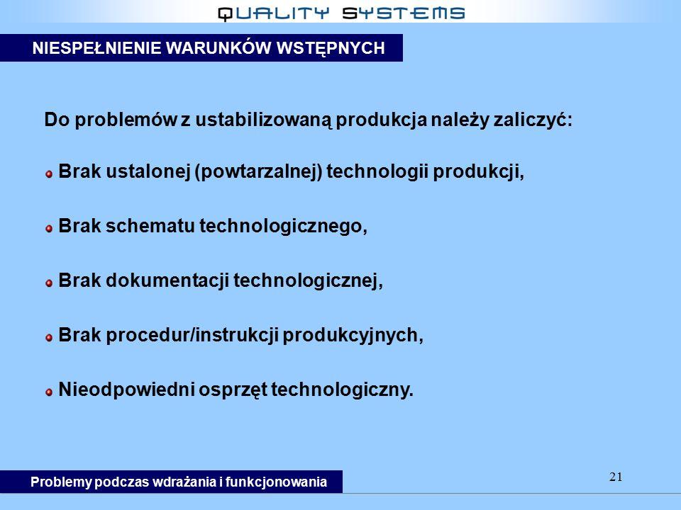 21 Do problemów z ustabilizowaną produkcja należy zaliczyć: Brak ustalonej (powtarzalnej) technologii produkcji, Brak schematu technologicznego, Brak dokumentacji technologicznej, Brak procedur/instrukcji produkcyjnych, Nieodpowiedni osprzęt technologiczny.
