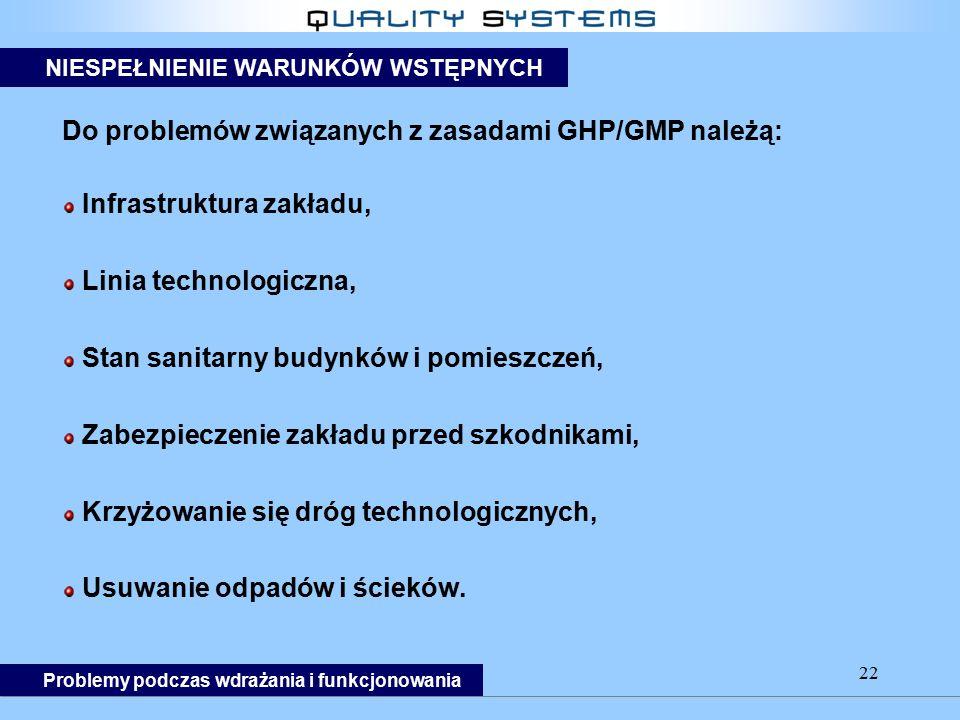 22 Do problemów związanych z zasadami GHP/GMP należą: Infrastruktura zakładu, Linia technologiczna, Stan sanitarny budynków i pomieszczeń, Zabezpieczenie zakładu przed szkodnikami, Krzyżowanie się dróg technologicznych, Usuwanie odpadów i ścieków.