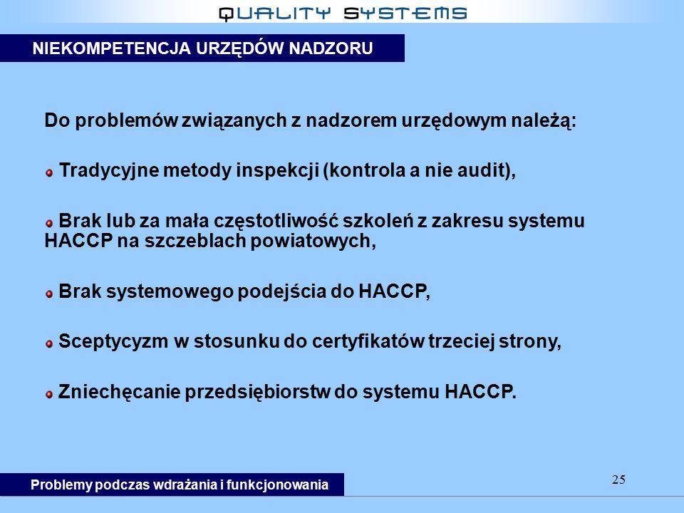 25 Do problemów związanych z nadzorem urzędowym należą: Tradycyjne metody inspekcji (kontrola a nie audit), Brak lub za mała częstotliwość szkoleń z zakresu systemu HACCP na szczeblach powiatowych, Brak systemowego podejścia do HACCP, Sceptycyzm w stosunku do certyfikatów trzeciej strony, Zniechęcanie przedsiębiorstw do systemu HACCP.