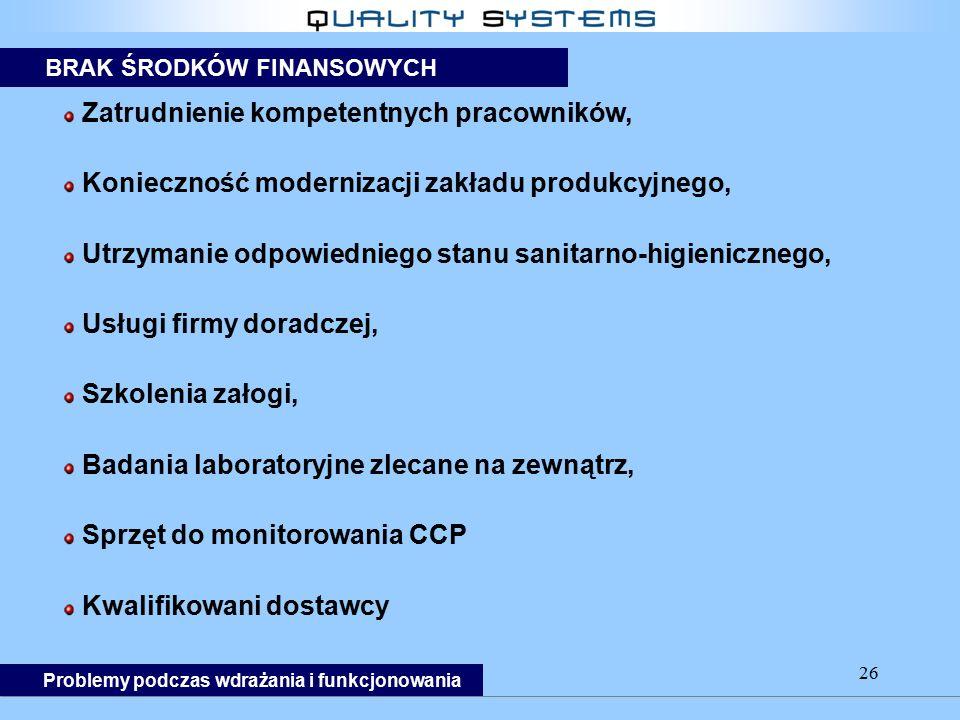 26 Zatrudnienie kompetentnych pracowników, Konieczność modernizacji zakładu produkcyjnego, Utrzymanie odpowiedniego stanu sanitarno-higienicznego, Usł