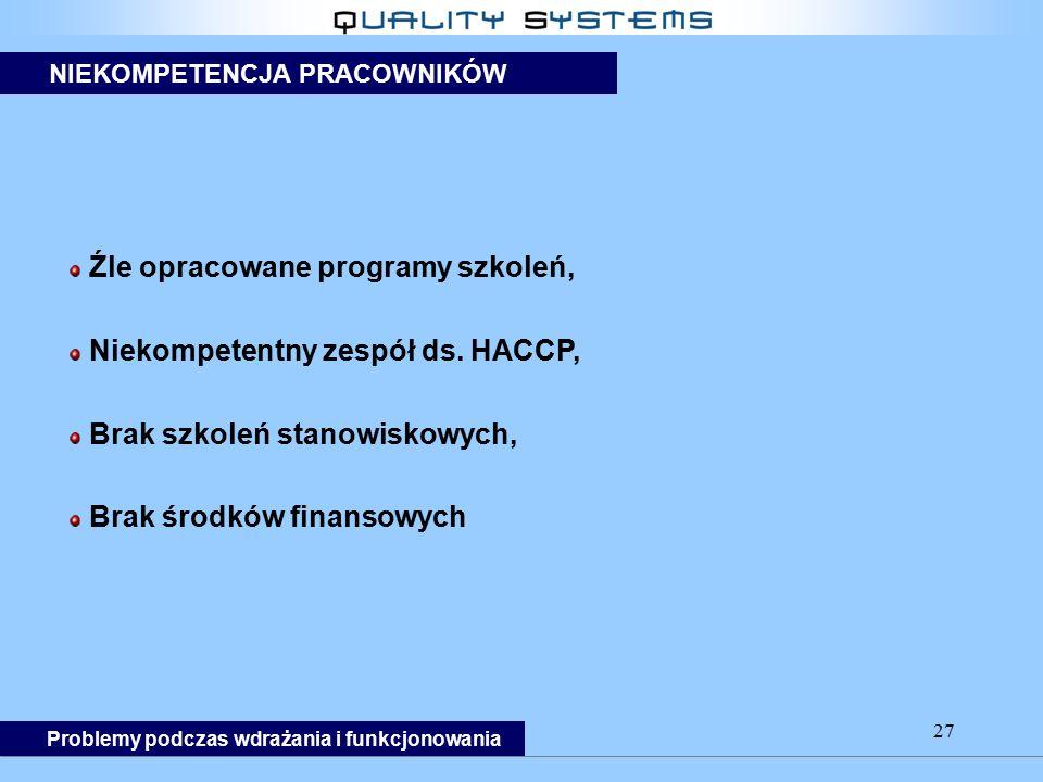 27 Źle opracowane programy szkoleń, Niekompetentny zespół ds. HACCP, Brak szkoleń stanowiskowych, Brak środków finansowych Problemy podczas wdrażania