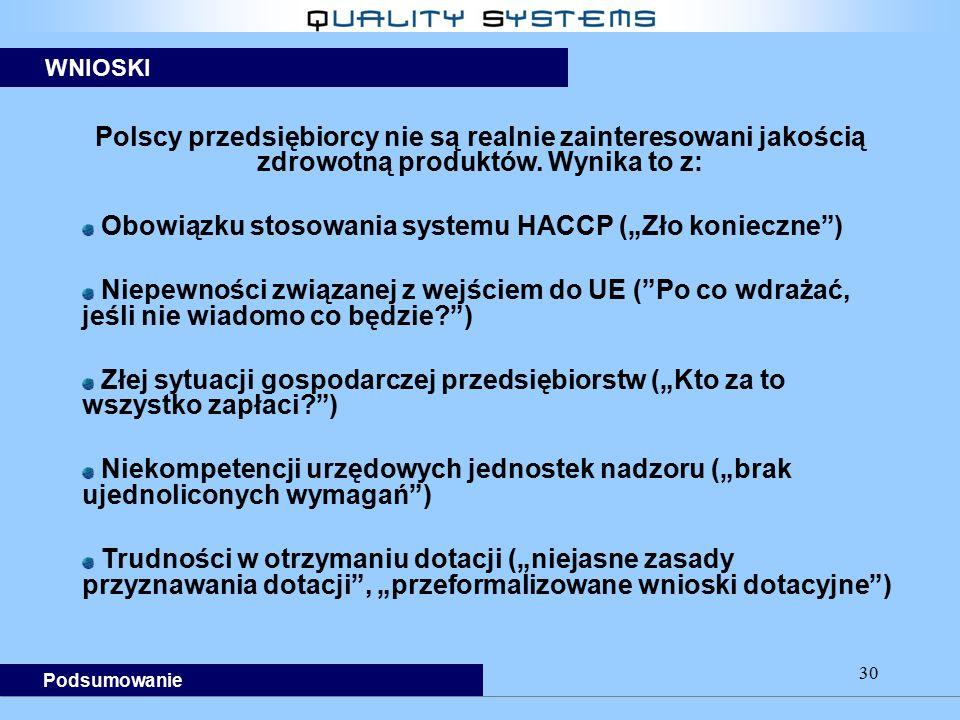 """30 Polscy przedsiębiorcy nie są realnie zainteresowani jakością zdrowotną produktów. Wynika to z: Obowiązku stosowania systemu HACCP (""""Zło konieczne"""")"""