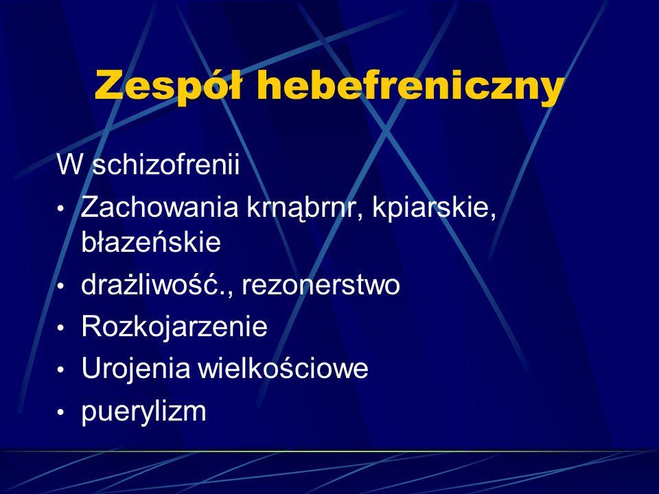 Zespół katatoniczny Zaburzenia napędu psychoruchowego  Zespół hipokinetyczny: bradykineza, mutyzm, nastrój przygnębiony, ambiwalentny, obojętny, zaniedbania higieniczne, urojenia i omamy  Zespół hiperkinetyczny: wzmożony napęd, agresja, dziwaczność, rozkojarzenie, śmiech lub płacz, urojenia  Raptus catatonicus