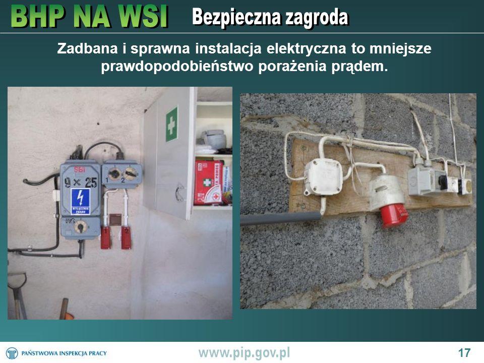 17 Zadbana i sprawna instalacja elektryczna to mniejsze prawdopodobieństwo porażenia prądem.