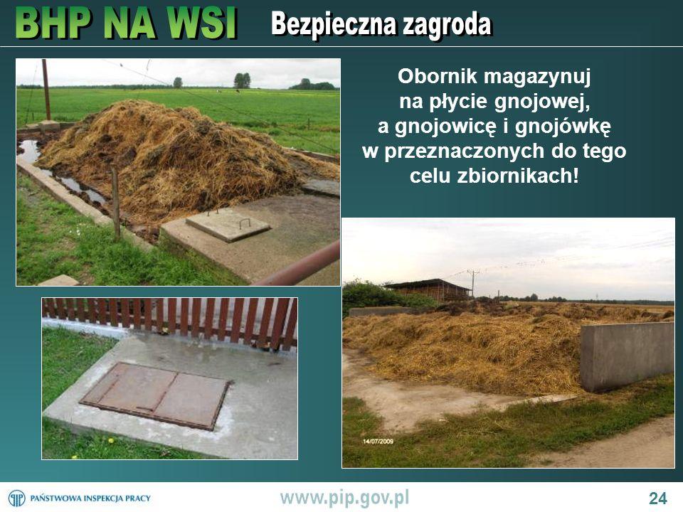 24 Obornik magazynuj na płycie gnojowej, a gnojowicę i gnojówkę w przeznaczonych do tego celu zbiornikach!