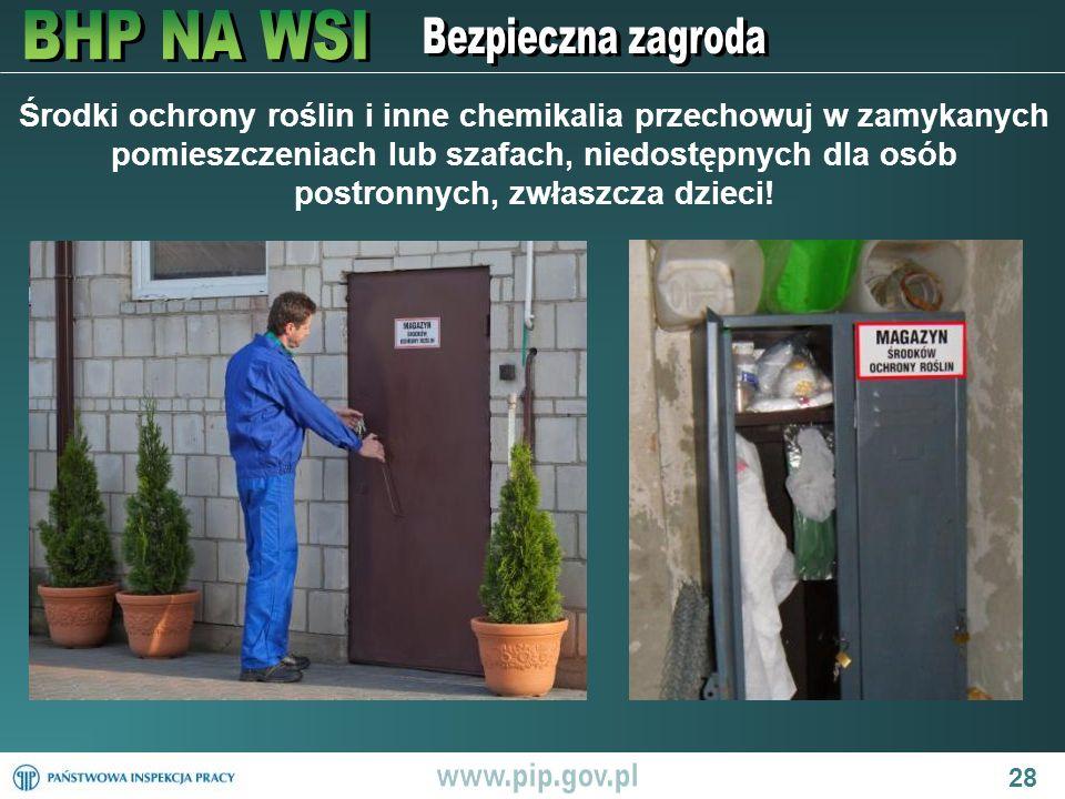 28 Środki ochrony roślin i inne chemikalia przechowuj w zamykanych pomieszczeniach lub szafach, niedostępnych dla osób postronnych, zwłaszcza dzieci!
