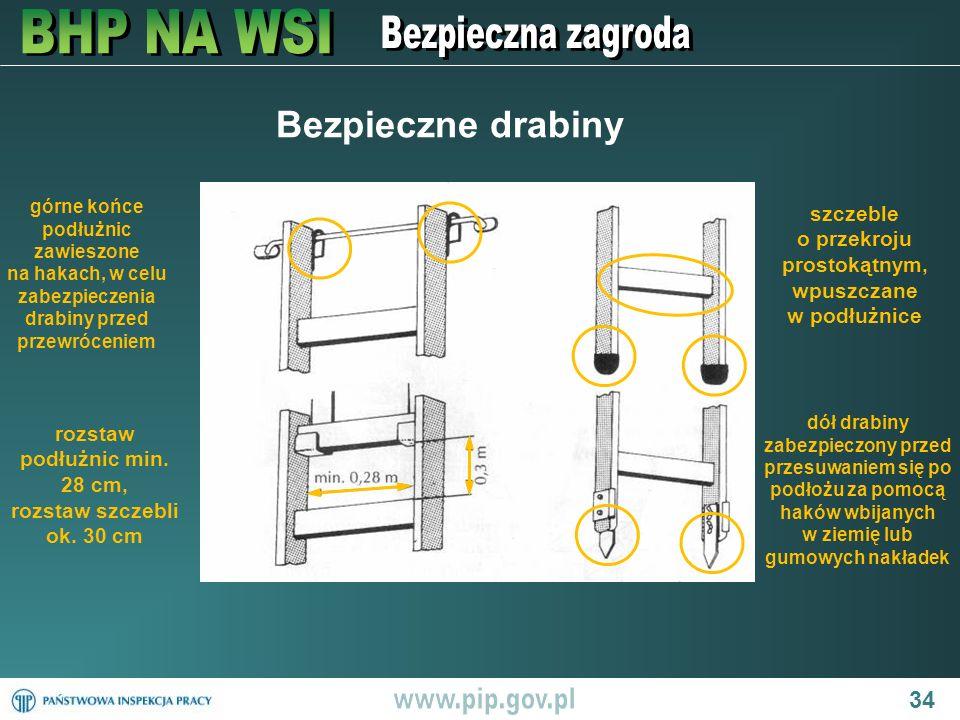 34 Bezpieczne drabiny górne końce podłużnic zawieszone na hakach, w celu zabezpieczenia drabiny przed przewróceniem rozstaw podłużnic min. 28 cm, rozs