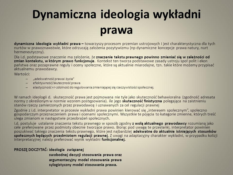 Dynamiczna ideologia wykładni prawa dynamiczna ideologia wykładni prawa – towarzyszy procesom przemian ustrojowych i jest charakterystyczna dla tych nurtów w prawoznawstwie, które odrzucają założenia pozytywizmu (np dynamiczne koncepcje prawa natury, nurt hermeneutyczny).