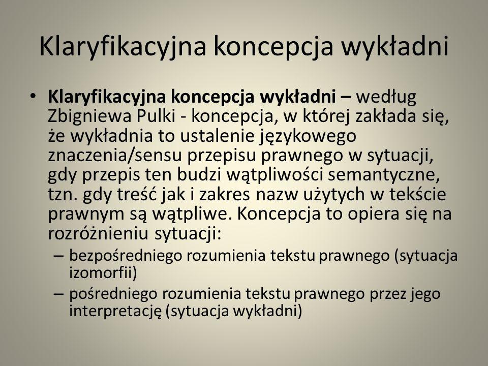 Klaryfikacyjna koncepcja wykładni Klaryfikacyjna koncepcja wykładni – według Zbigniewa Pulki - koncepcja, w której zakłada się, że wykładnia to ustalenie językowego znaczenia/sensu przepisu prawnego w sytuacji, gdy przepis ten budzi wątpliwości semantyczne, tzn.