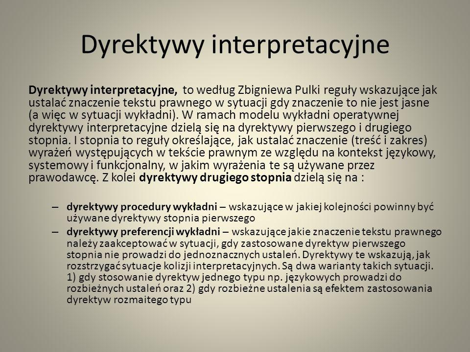 Dyrektywy interpretacyjne Dyrektywy interpretacyjne, to według Zbigniewa Pulki reguły wskazujące jak ustalać znaczenie tekstu prawnego w sytuacji gdy znaczenie to nie jest jasne (a więc w sytuacji wykładni).